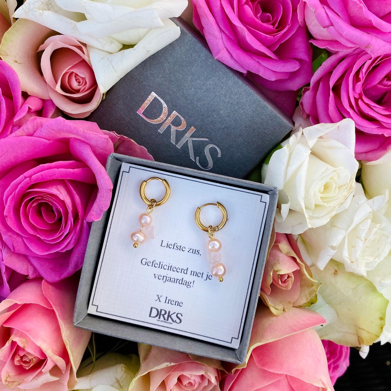 Gouden oorringetjes met rozekwarts kopen