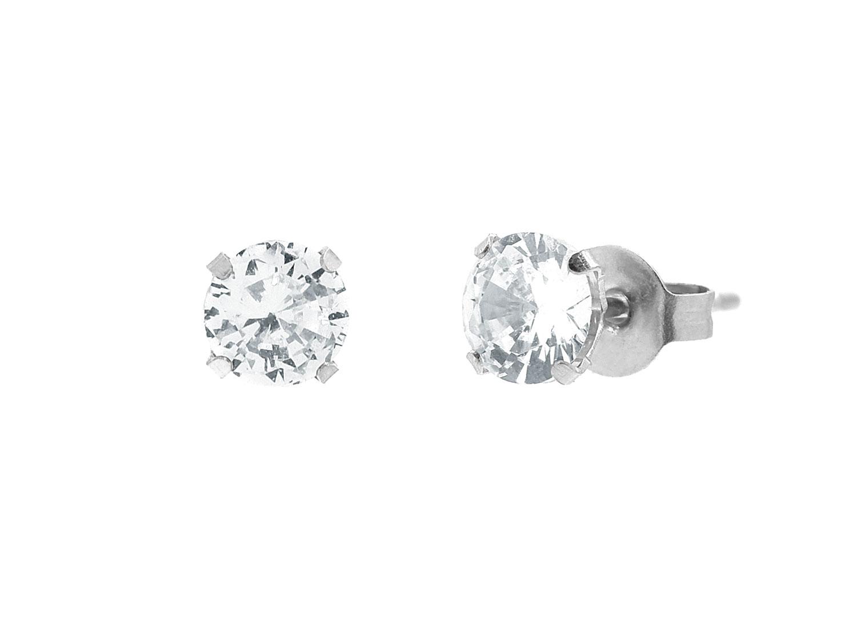 Stud oorbellen met steen zilver
