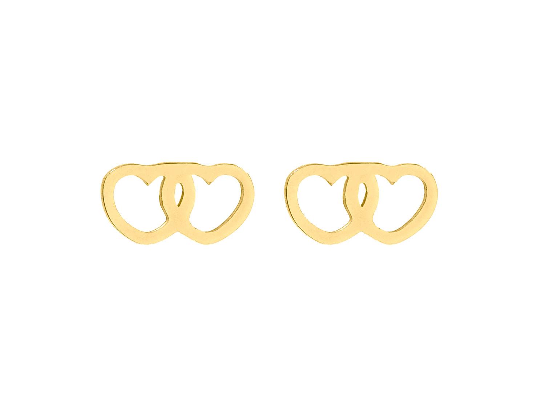 Hartjes oorbellen dubbel goud