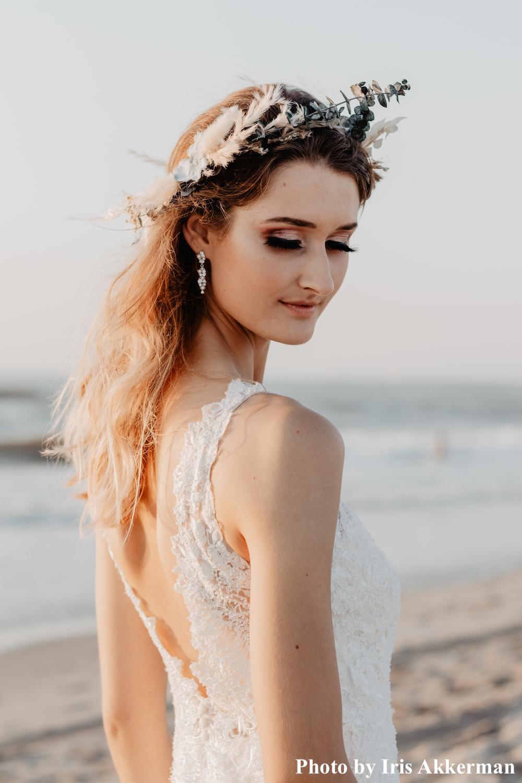 Sparkle oorbellen met parels bij bruid