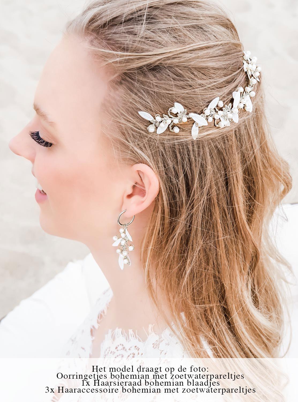 Zilverkleurige bruidssieraden om te dragen