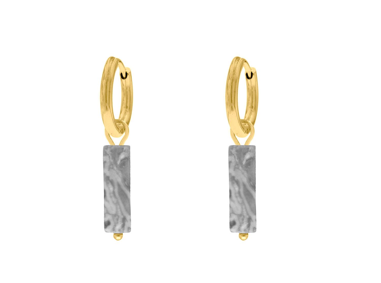 Oorbellen met grijs steentje kleur goud