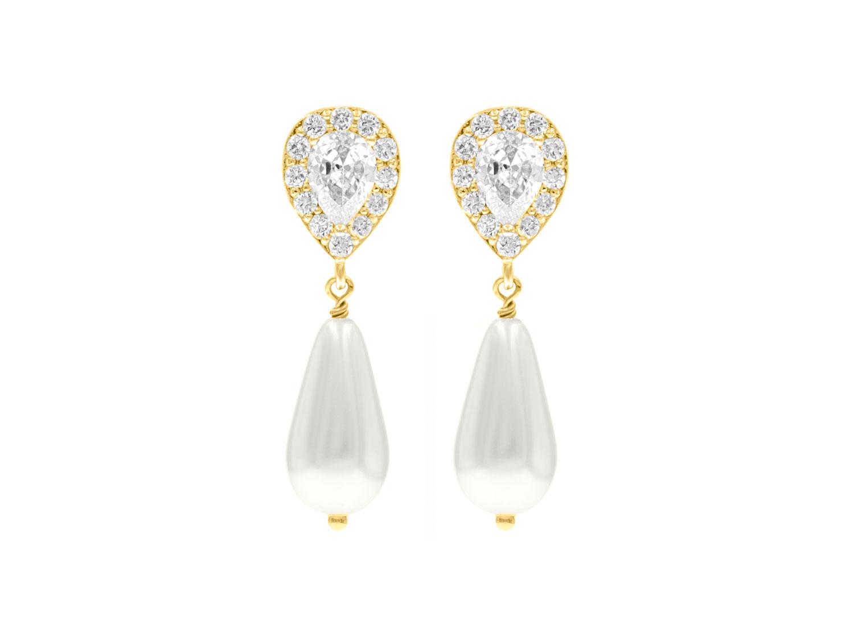 Faux pearl oorbellen goud met ivoorkleurige parel