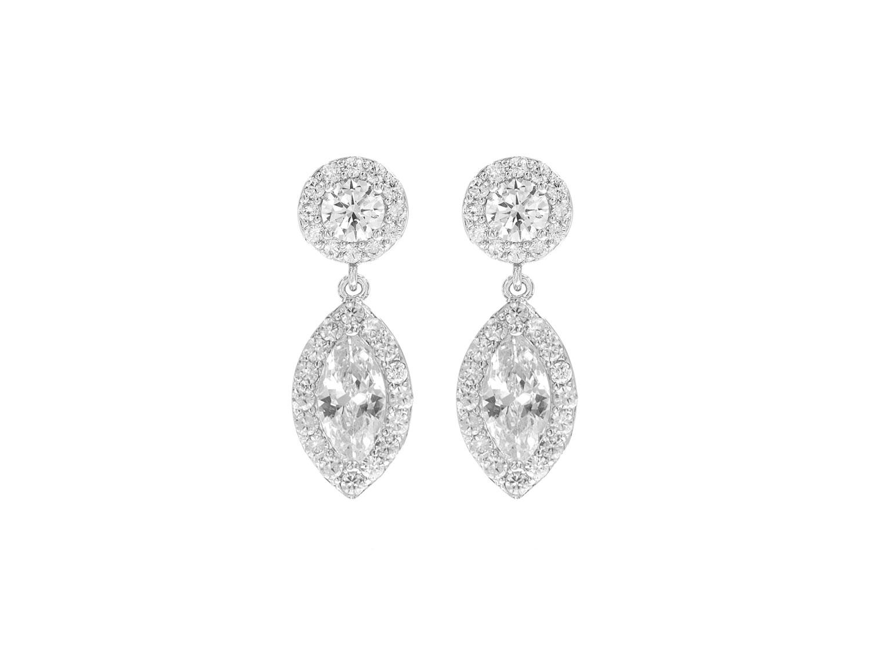 Zilveren sparkle oorbellen met ronde en druppel zirkonia