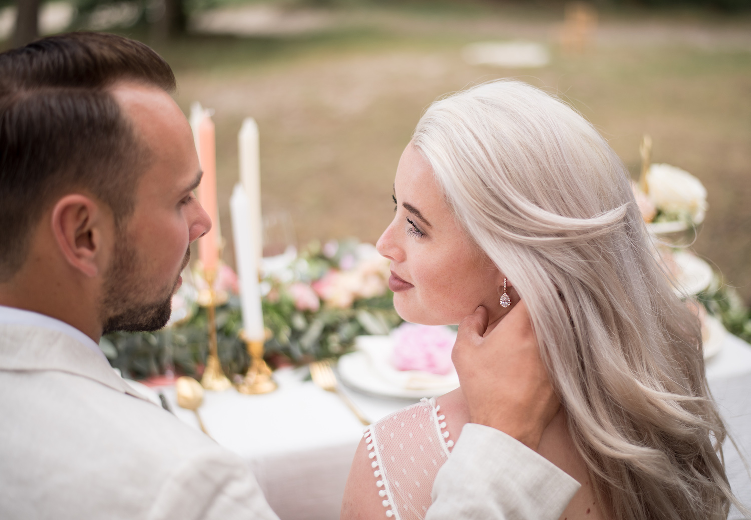 bride with rose gold earrings from drks