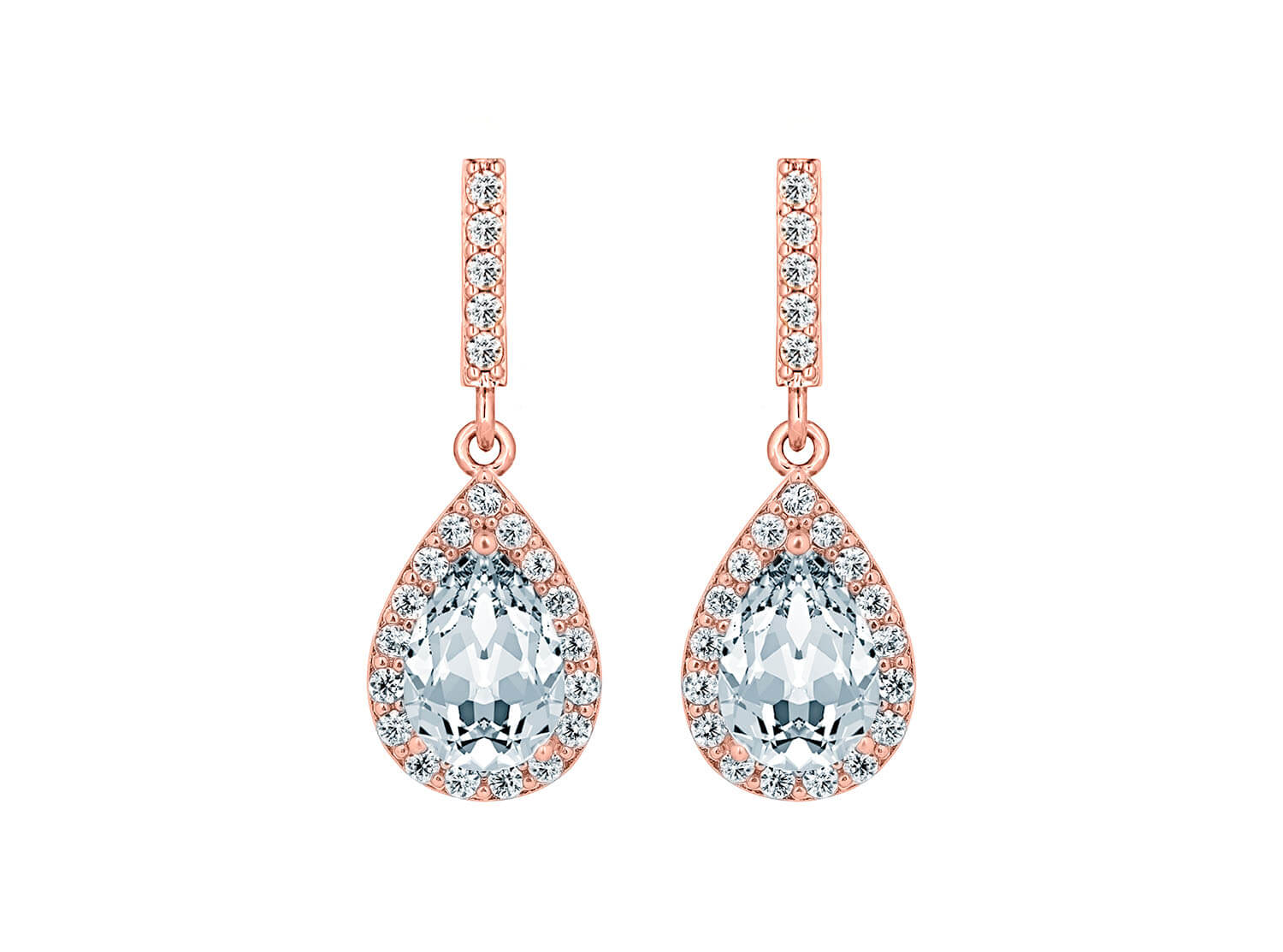 rose gold earrings with zirconia's from drks