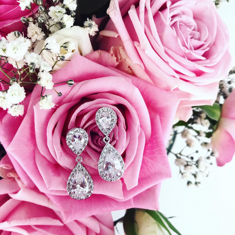 Sparkle oorbellen party met bloemen