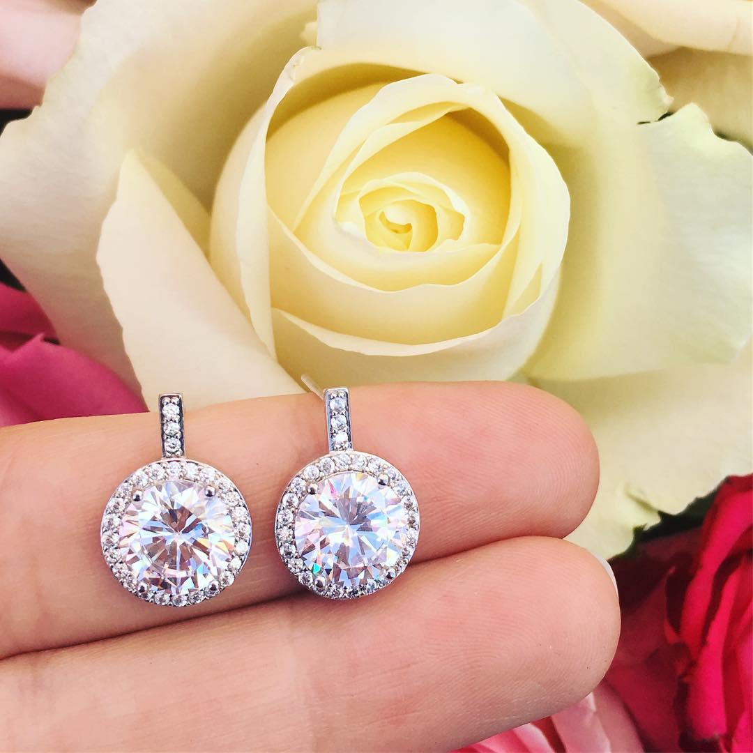 zilveren ronde oorbellen met kristallen