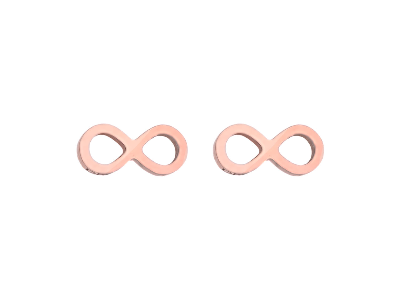 Oorbellen met infinity teken in het rose goud