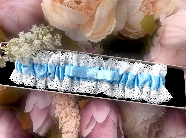 kousenband blauw voor bruid