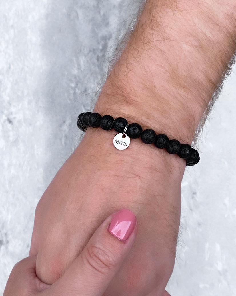 Kralen armband voor heren met graveerbaar muntje