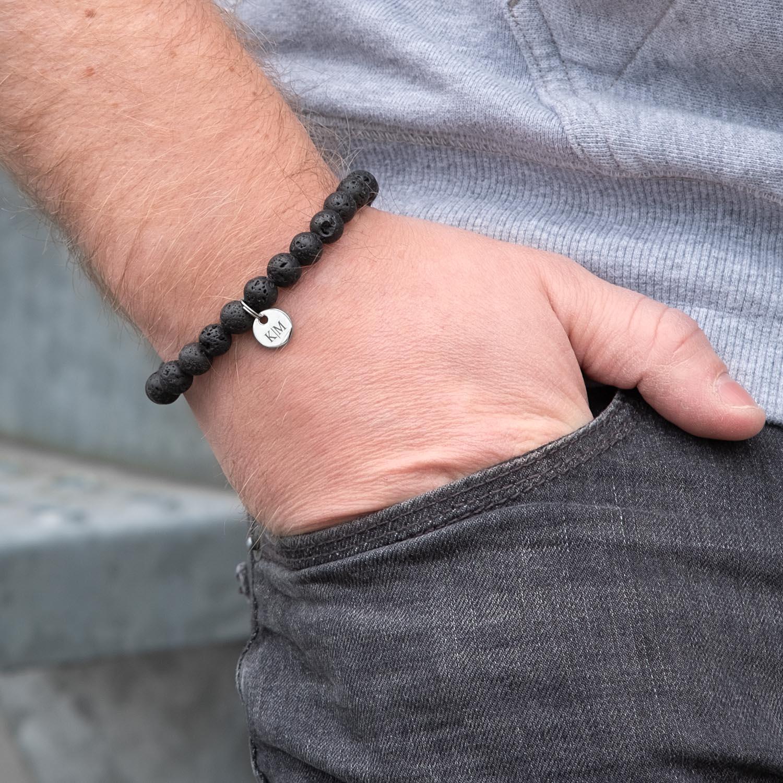 Stoere kralen mannen armband voor de man met graveren