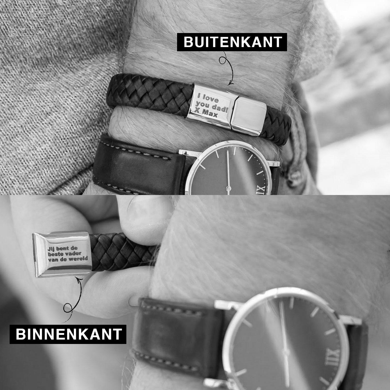 Mooie armband met de binnen en buiten kant van de sluiting