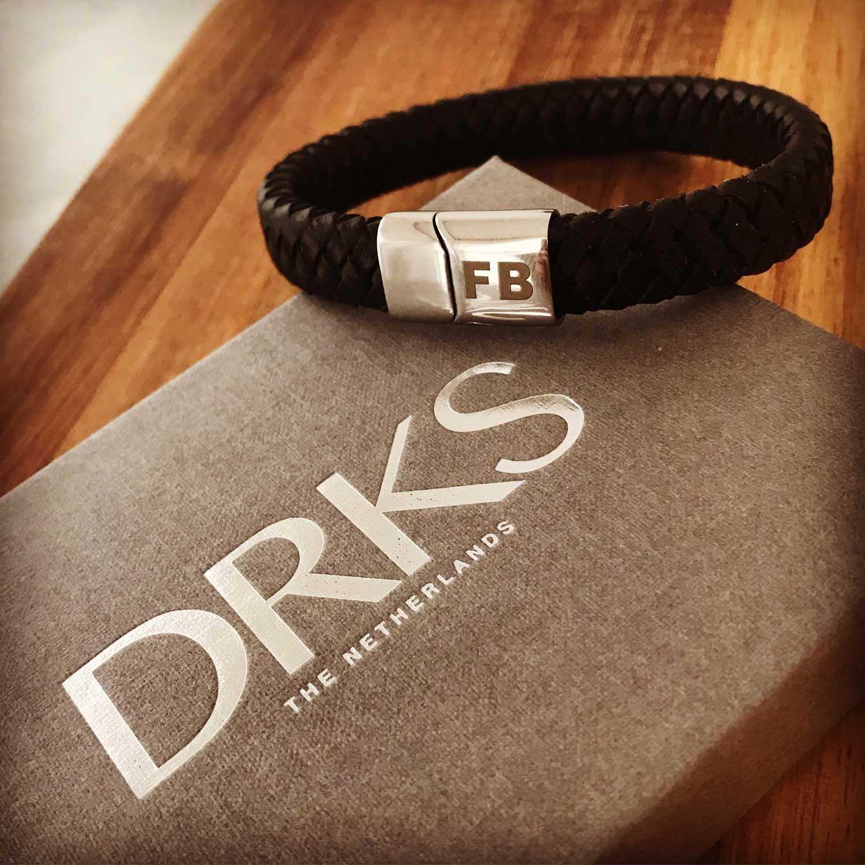 Graveerbare Leren Mannen Armband - DRKS