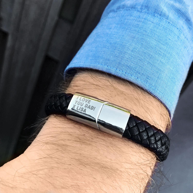 Graveerbare leren armband voor de mannen met band