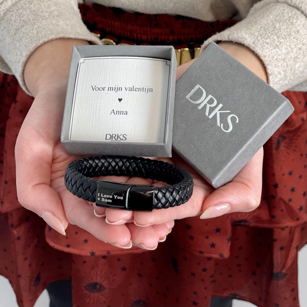 Leren mannen armband als valentijn cadeau voor hem