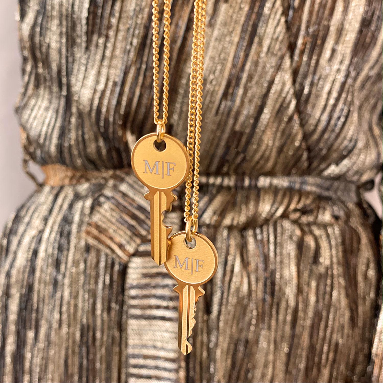Gegraveerde Sleutelketting voor koppels kleur goud