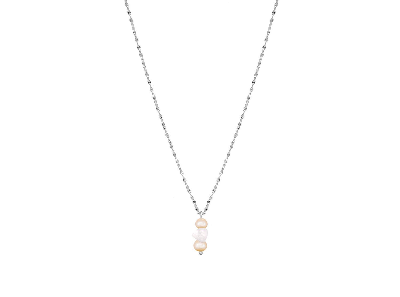 Zilveren parel ketting met rozenkwarts