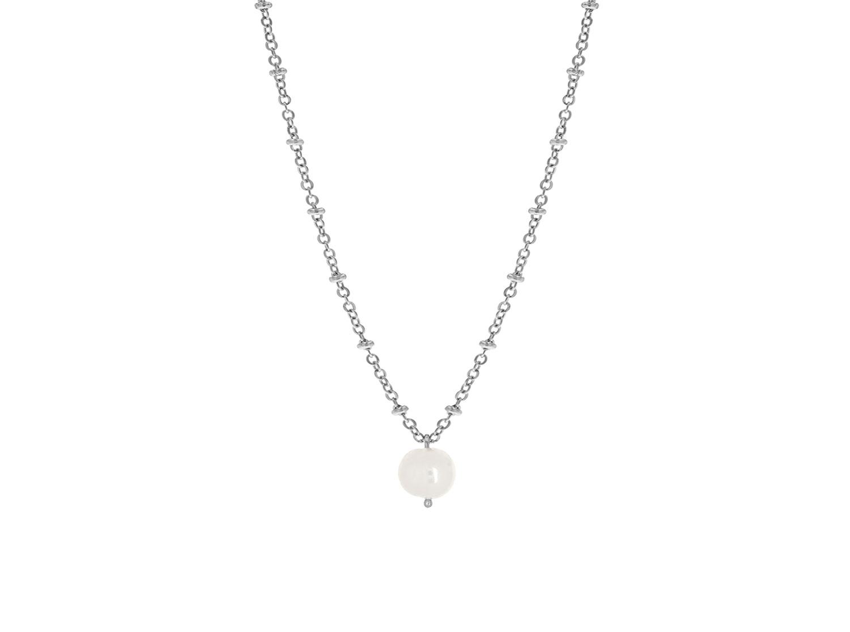 Zilveren parelketting met hanger