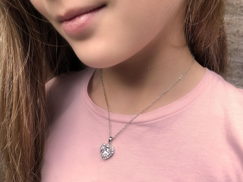 Zilveren hartjes ketting voor kinderen