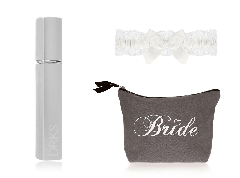 DRKS Bride Beauty Package met toilettas, kousenband en graveerbare parfumverstuiver
