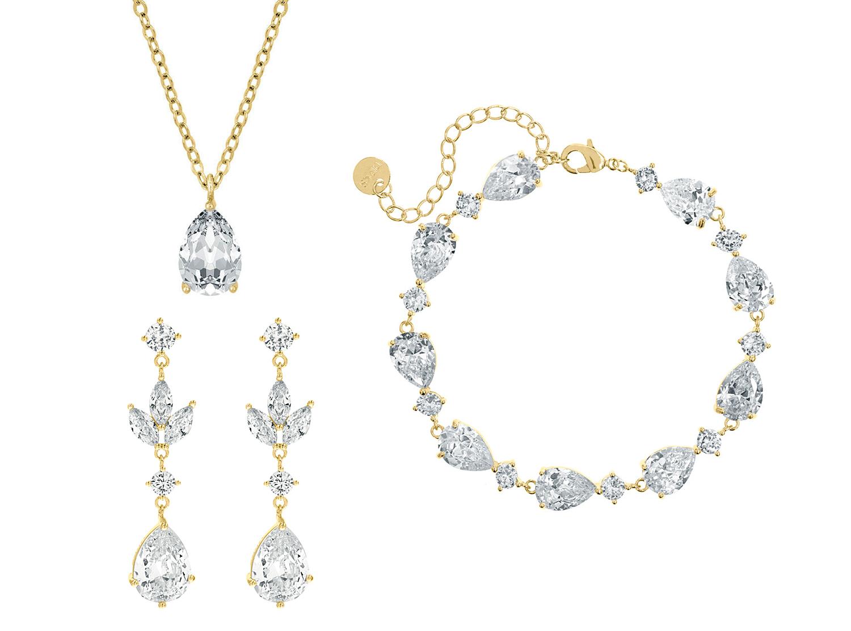 Bruidssieraden set met hanger oorbellen goud kleurig
