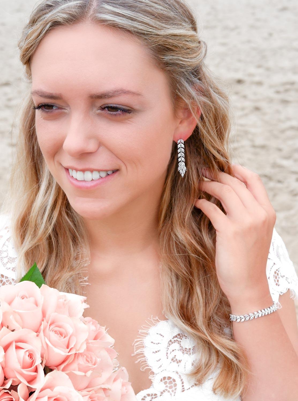 Mooie armband voor de bruid in een zilveren kleur