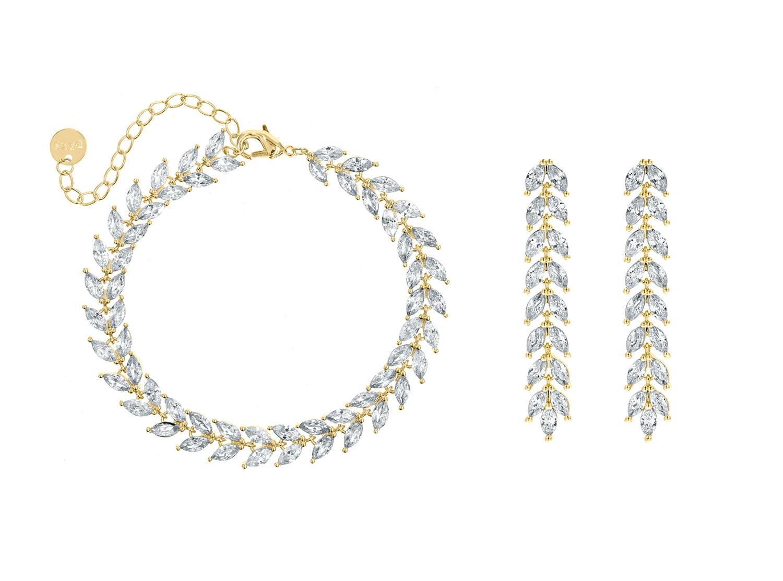 Bruidssieraden set met lange oorbellen goud kleurig