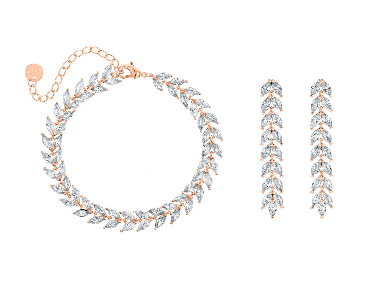 Bruidssieraden set met lange oorbellen rose goud kleurig