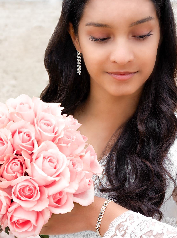 Vergulde bruids oorbellen kopen voor de bruid