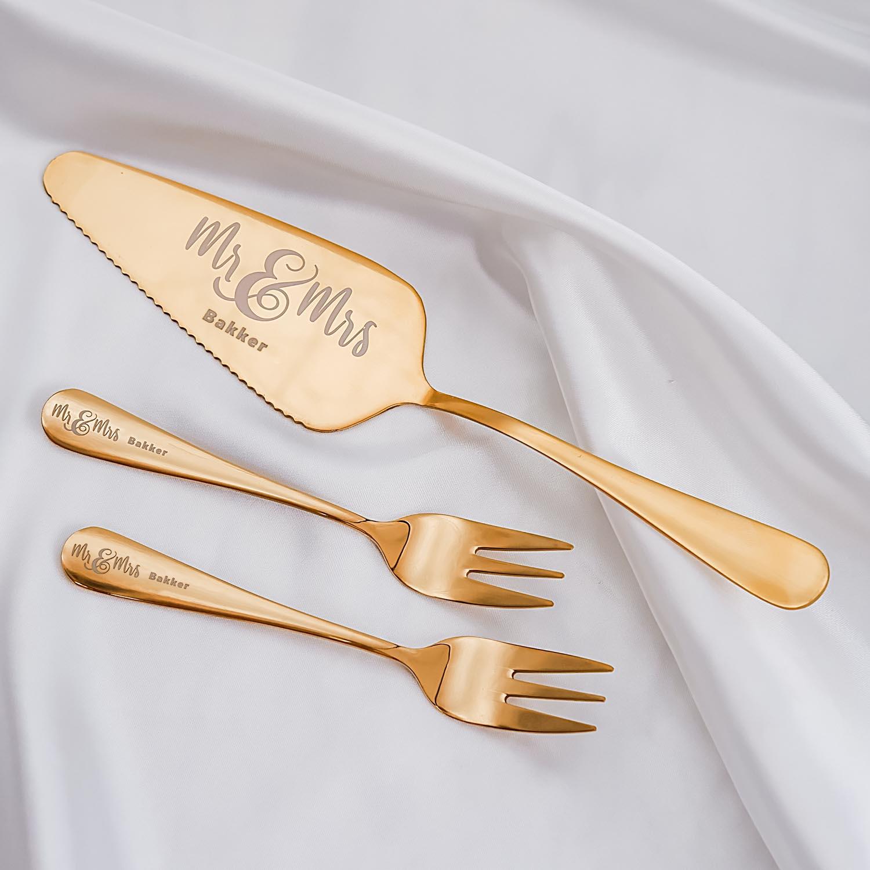 Gouden gebaksvorkje voor bruidspaar om samen te delen