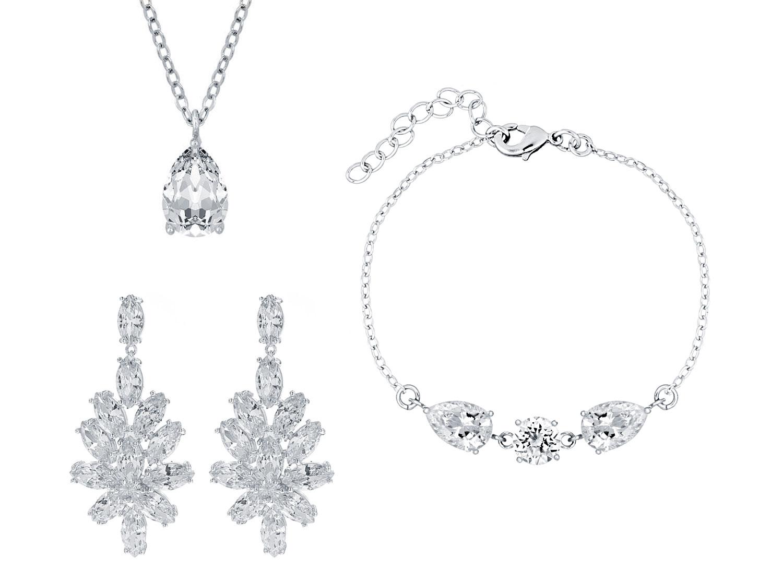 Sieradenset voor bruiloft met zilveren sieraden