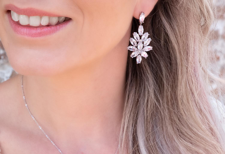 Grote statement oorbellen met sparkle voor de bruid