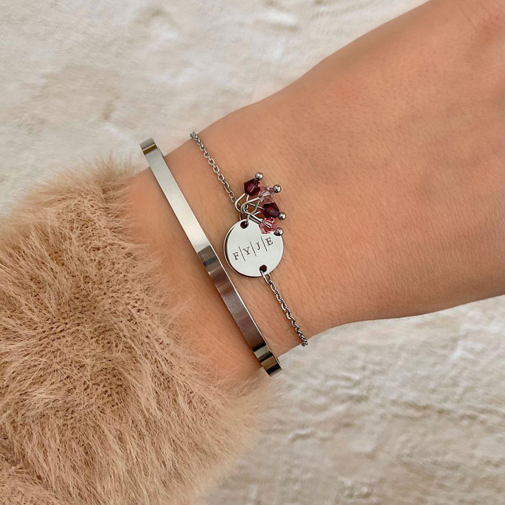 zilveren geboortesteen armband