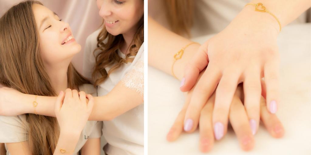 moeder en dochter armbanden met hartjes