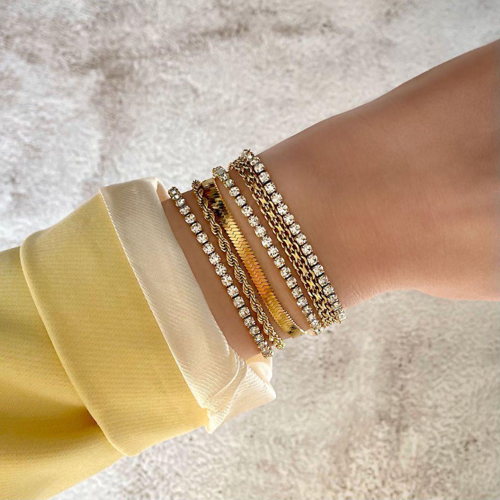 gouden tennis armband