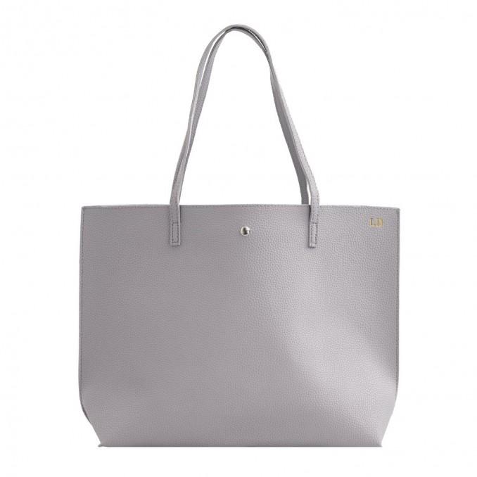 grijze shopper tas met initialen