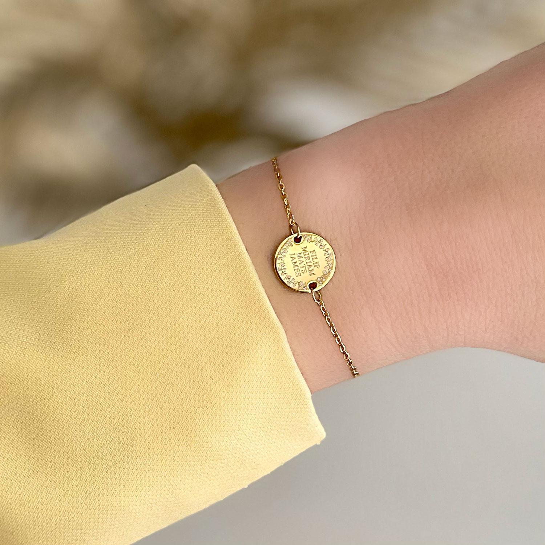 gouden familie armband met gravering
