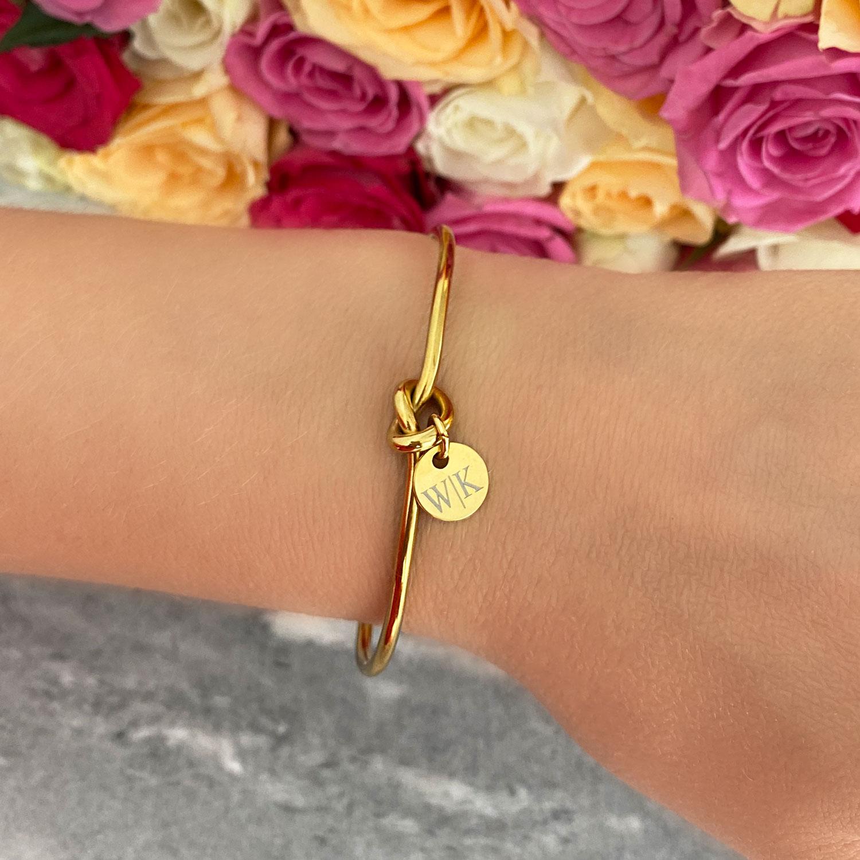 gouden knoop armband met graveerbaar muntje