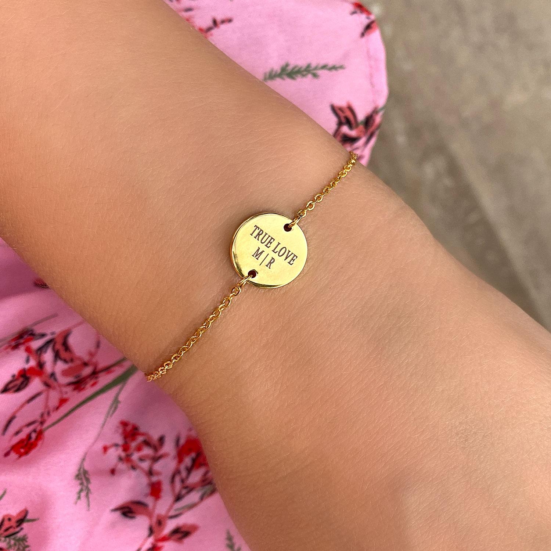 ronde graveerbare armband goud