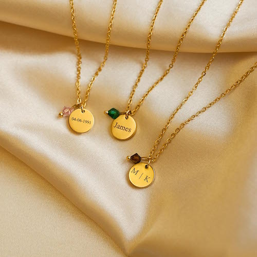 Gedenk sieraden goudkleurig met geboortesteen