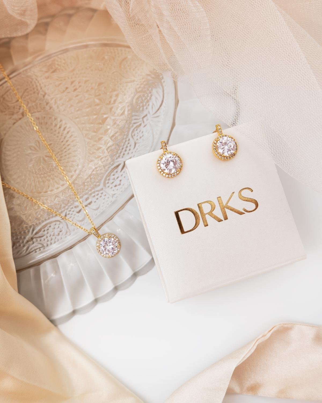 gouden ketting en oorbellen met sparkle en doosje