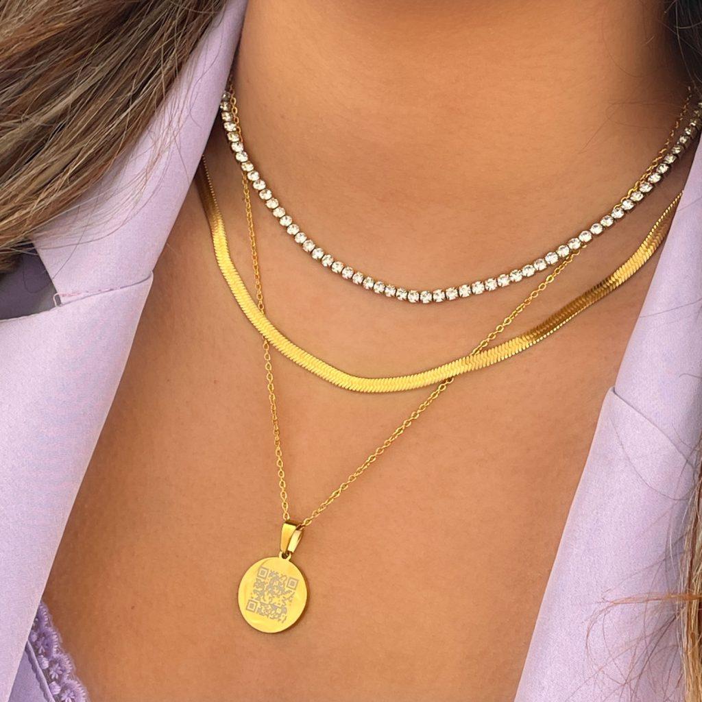 Necklace party goudkleurig met graveerbare ketting