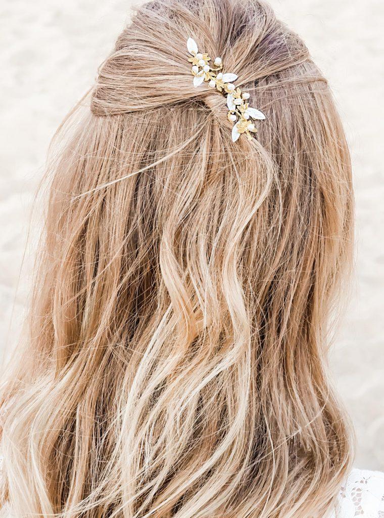 bohemian style haaraccessoire bruid goudkleurig